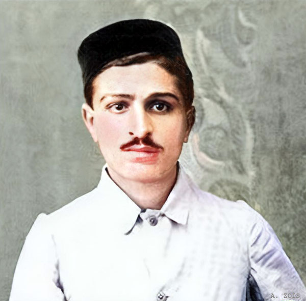 Merwan Irani in Poona in 1916.  Trimmed & colourzed by Anthony Zois.