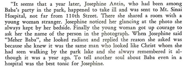 Kitty Davy's write's Elizabeth Patterson's recollections Of Baba in New York in late May 1932 ; extract courtesy of The Awakener ; Vol.X11, No.3 - page 6