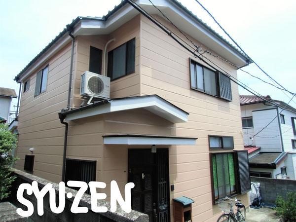 横浜市中区簑沢周辺。 ○○様邸の外壁塗装。ブロンズのサッシとバランスが良いですね。