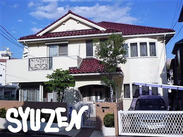 横浜市中区小港町周辺 洋瓦とお似合いの外壁塗装の色ですね。