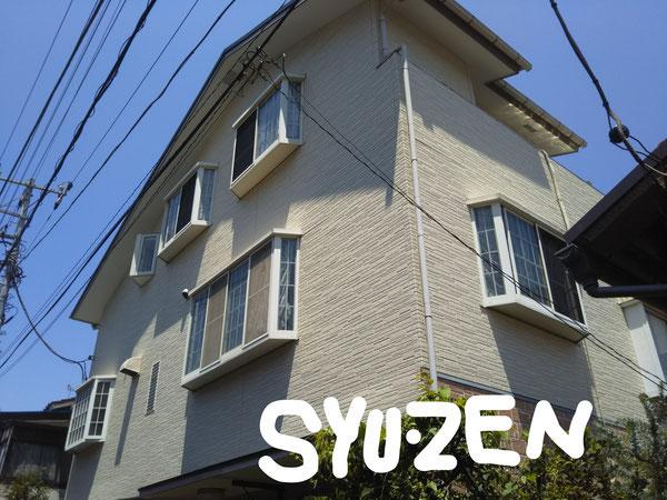 横浜市中区山手駅周辺 外壁貼り替え 部分塗装 屋根シングル被せ葺き。
