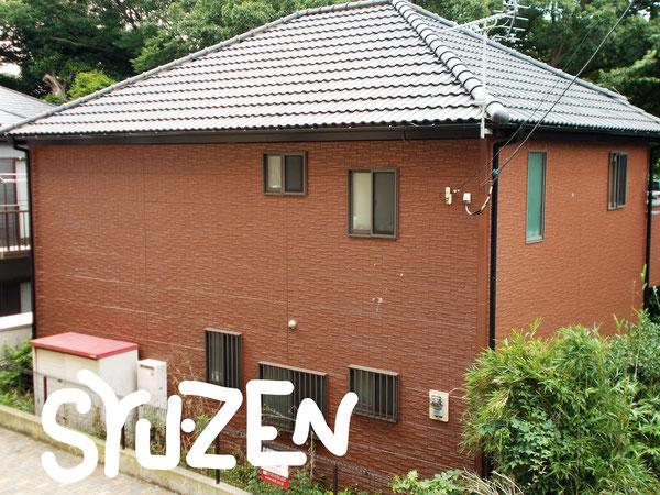横浜市中区本郷町。○○様邸の外壁塗装。明るめのブラウンも良いですね。