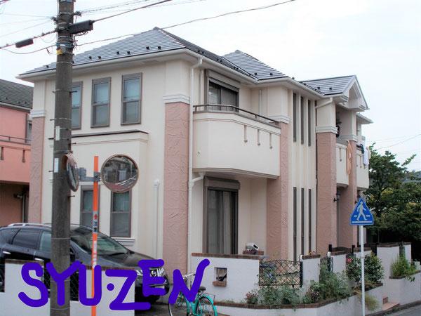 横浜市中区本牧緑が丘周辺 ○○様邸の外壁塗装と屋根塗装。こだわりの配色です。
