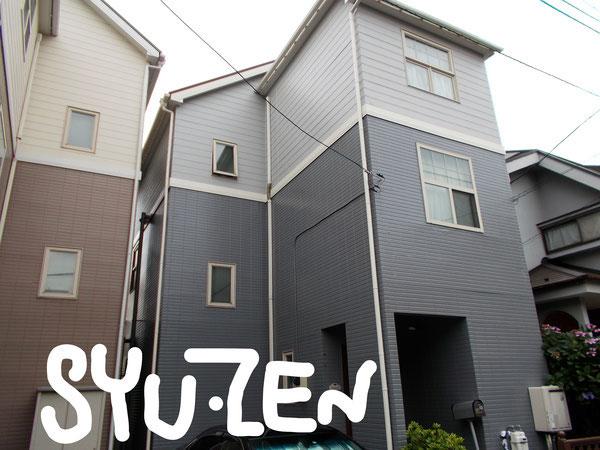 横浜市中区本牧町付近。A様邸 3階建ての2色塗。