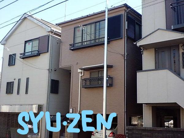 横浜市中区柏葉。○○様邸の仕上がり。右隣もこの後にシューゼンで塗装します。