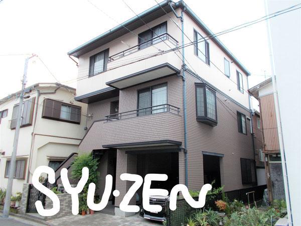 横浜市中区千代崎町。 3階建○○様邸の外壁塗装と屋根塗装です。