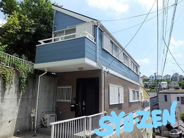 横浜市中区竹之丸。 外壁塗装と屋根塗装。 目地交換。