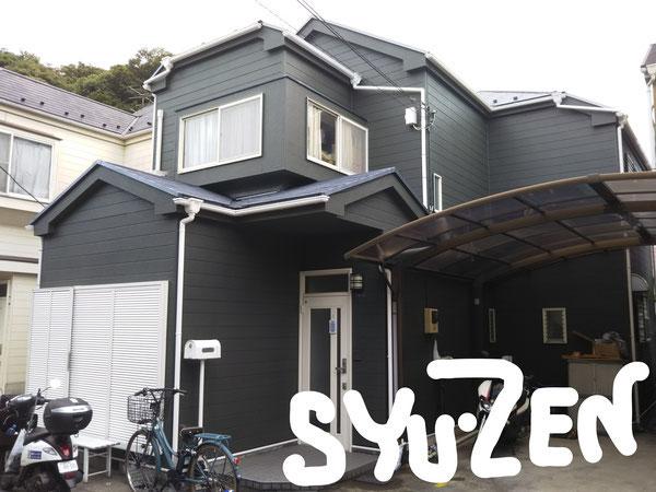 横浜市中区山手駅近くのお家。存在感バッチリの外壁塗装。