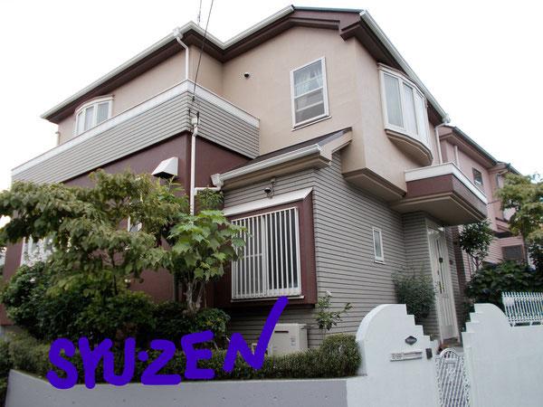 横浜市中区本牧緑が丘。ご主人のこだわりの配色。外壁塗装と屋根塗装。