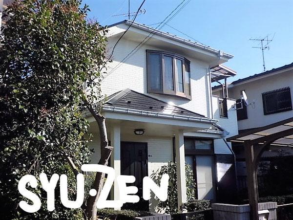 横浜市中区西竹之丸。外壁塗装と屋根塗装。外壁は白系、屋根は黒。塗装の王道ですね。