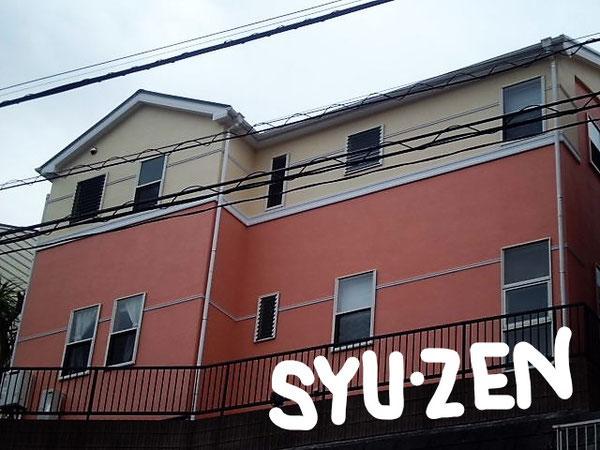 横浜市中区池袋周辺。 こだわりの艶消し。外壁塗装と屋根塗装。