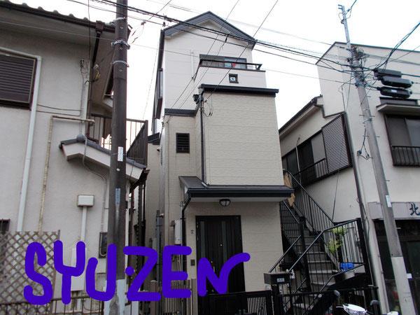 横浜市中区北方町 ○○様邸。外壁塗装と屋根塗装。塗分けするとヤッパリ素敵ですね。