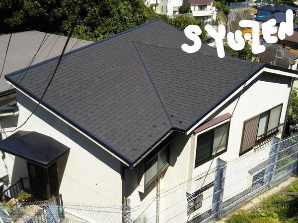 横浜市中区本牧町付近。 外壁塗装 屋根シングルの被せ葺き。
