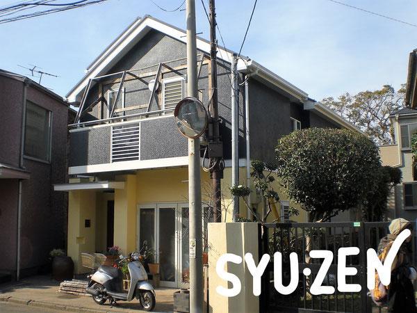 横浜市中区本郷町。○○様邸の外壁塗装。個性的な2色塗も仕上がりバッチリです。