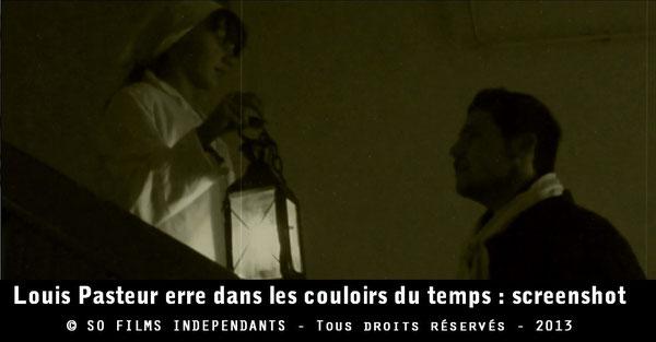 Infirmière annonçant la naissance de Pasteur au XIXe siècle...