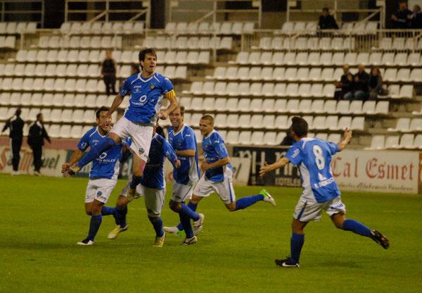 Asier Eizagirre celebra el gol que le dio los tres puntos al Lleida. Foto: www.lleidaesportiu.cat