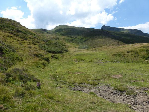 Le Pic de Lasnères est accessible depuis le Col d'Arrioutort par une succession de coulées herbeuses.