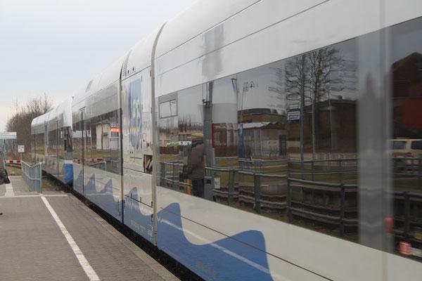 Fahrt mit der Usedomer Bäderbahn nach Trassenheide.