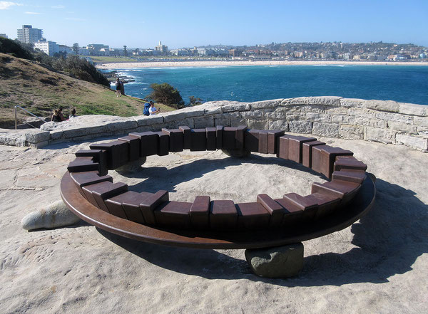 Circle - on the earth  <C-39>     H.50x350x350cm/cor-ten steel, stone/2017   in Bondi  (Sydney)