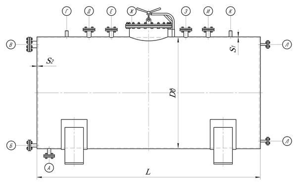 Сосуд с плоскими боковинами (чертеж)