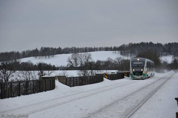 Auf der Elstertalbrücke (Januar 2011)
