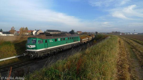 Halt am ehemaligen Bahnsteig Raitzhain, die Bahn AG hat Verspätung und selbstverständlich Vorfahrt (November 2010)