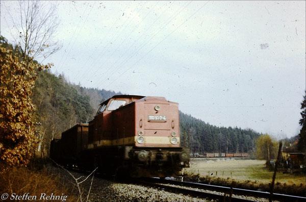 BR 110 577-4 vom Bw Gera mit dem Abendgüterzug Greiz - Gera kurz vor der Rohrbrücke unterhalb von Clodra (1983)