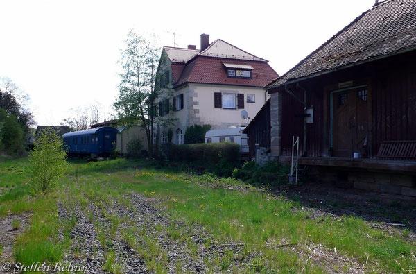 Bahnhof Ebrach mit rückgebauten Gleisen (3. Mai 2008)
