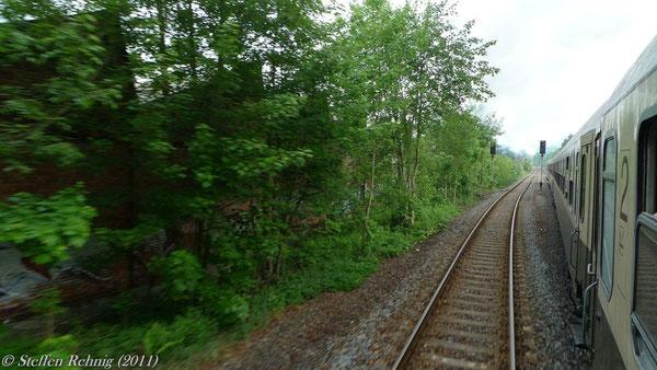 Die Entgleisungsstelle vom Zug aus gesehen (Mai 2011)