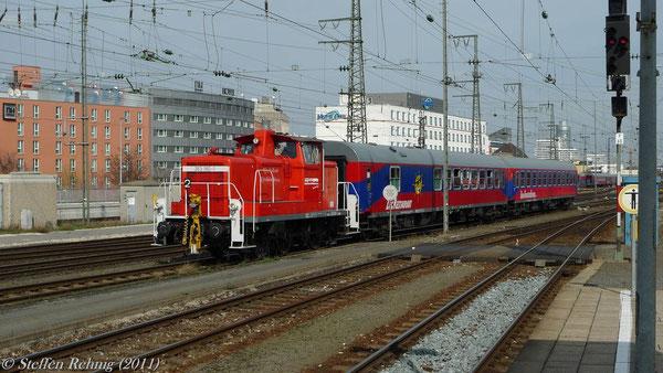 Rangierfahrt von der Abstellanlage zum Bahnsteig Nürnberg Hbf