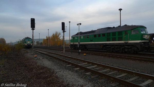 Zugkreuzung in Schmirchau (November 2010)