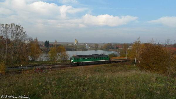 Raitzhain, Wismut-Kippzug Richtung Schmirchau, Aufgenommen vom Damm der alten Straßenbrücke (November 2010)