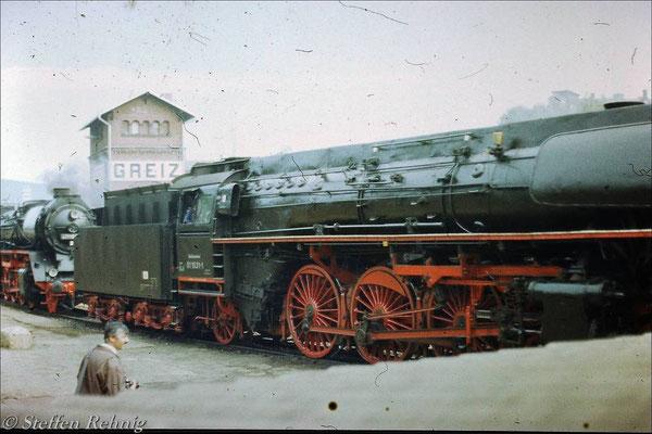 """01 1531-1 auf dem """"Kohlenbunkergleis"""" im Bw Greiz (1990)"""