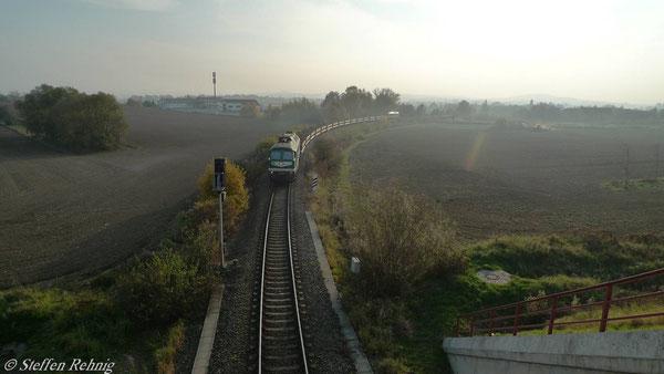 Leerzug aus Richtung Raitzhain nach Kayna (November 2010)
