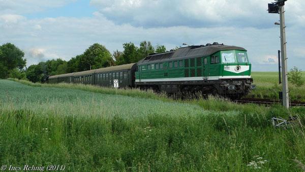 Halt in Raitzhain zum Abkuppeln der V300 004