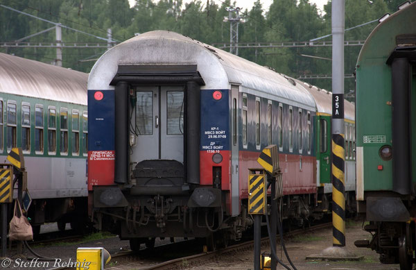 RZD Schlafwagen WLABmee 622071-90 274-7 Хэб - Москва in der Abstellanlage Cheb (21. Mai 2011)