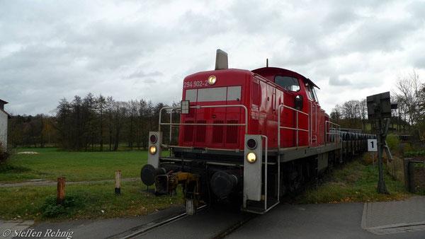 Einfahrt in den Bahnhof Schlüsselfeld (6. November 2010)