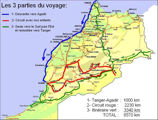 Notre itinéraire au Maroc (cliquez pour agrandir)