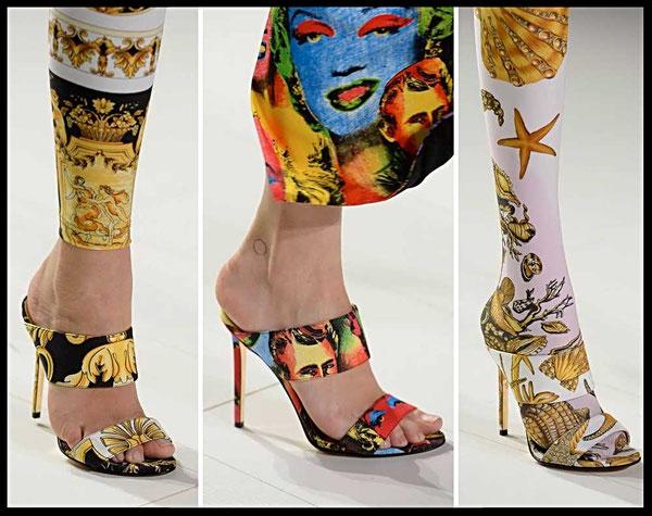 Stampe foulard per le scarpe di Versace collezione Primavera -estate 2018