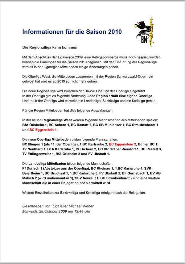 Info für die Saison 2010