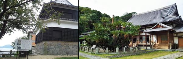 写真左:日出城の鬼門櫓(東北隅の角が特徴) 写真右:麻地酒が偶然発見された伝説のある松屋寺