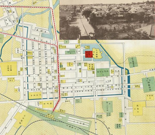 大正7年の大分市街図。府内城下町の南西部に、竹町通りに交差する『室町』の地名が見える。後に、篤が開業した医院(小児科・産婦人科)は『塗師町』(城下町の北西部)にあった。右上の写真は明治40年頃、現在の大分駅前の場所にあった大分地方裁判所の屋根の上から撮影した大分町の風景。右遠方に府内城の西南隅櫓が見える。大分市街新地図および大分縣寫眞帖(所収)より。(クリックすると拡大します)