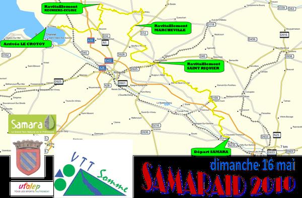 Le tracé SAMARAID 2010 couleur jaune