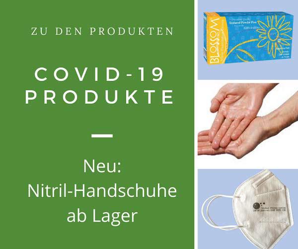 Neu im Sortiment: Hochwertige, zertifizierte Desinfektions-Produkte für die Hände-und Flächen-Desinfektion sowie Hochwertige, CE-zertifizierte OP- und Atemschutz-Masken sowie zertifizierte Nitril-Handschuhe ab Lager.
