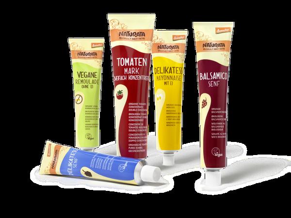 NATURATA - Tuben - Würzmittel - Senf - - Tomatenmark - vegane - Remoulade - modern - spielerisch - harmonisch - jung - Naturkost - Relaunch - Design - Packaging - DesingKis - 2015 - Verpackung