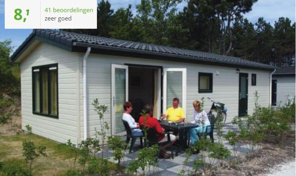 Te huur gezellig chalet met Wifi voor 4 personen op Kustpark Egmond aan Zee met openluchtzwembad