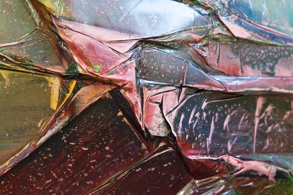 Enrico Riemann, Contact Face 8, 70 x 110 x 10 cm, 2017, Detailansicht (Acrylfarbe, Papier)