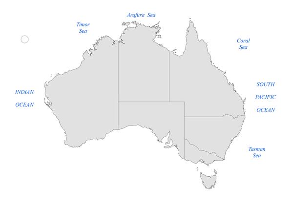 Oceans and seas of Australia.