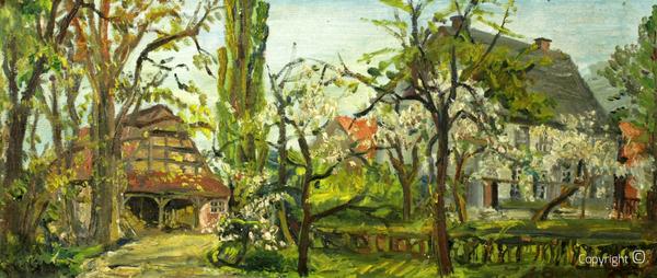 Haus Ahse und Nebengebäude, Gemälde von Erwin Bowien, undatiert