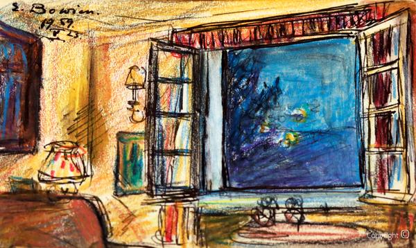 Erwin Bowien (1899-1972): Abends im großen Salon des Schwarzen Hauses zu Solingen, 1959